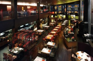 Image showcasing the interiors and live-cooking stations at Mantra Restaurant & Bar