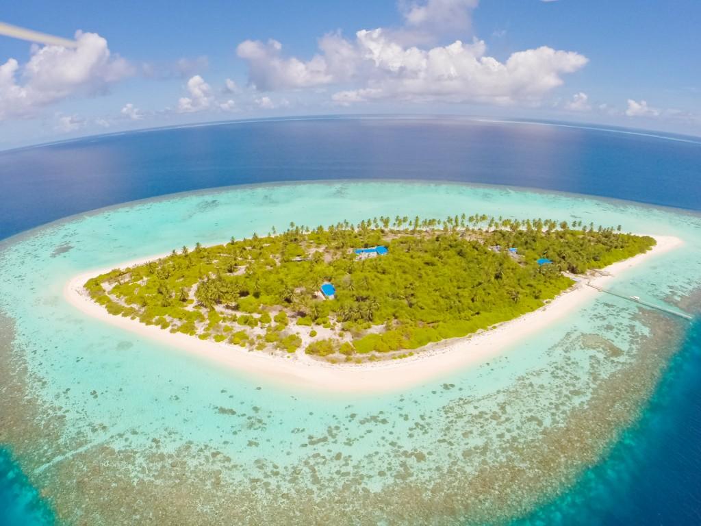 Bird's eye view of Southern Gaafu Dhaalu atoll, Amari Havodda Maldives