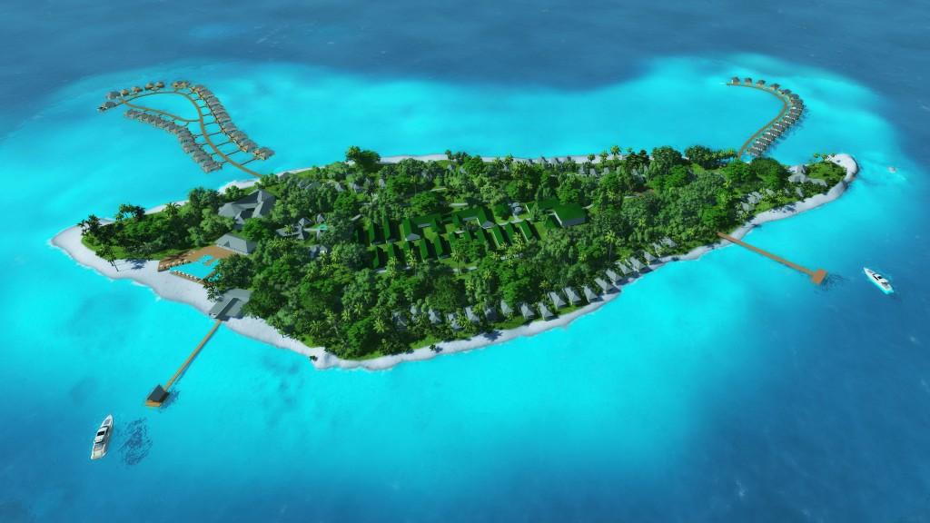 Perspective of Southern Gaafu Dhaalu atoll, Amari Havodda Maldives
