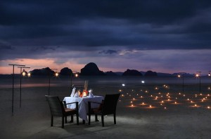 Romantic Candlelit Dinner on the Beach