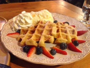 Waffles served with vanilla ice-cream and assorted berries at B-Story Café & Restaurant, Bangkok