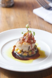 - Grilled scallops with mango and tomato salsa served at Café Claire, Oriental Residence Bangkok