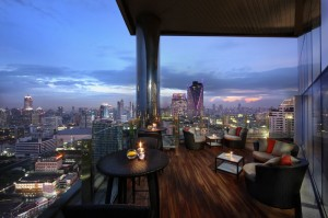 The balcony of the Executive Lounge at Amari Watergate Bangkok