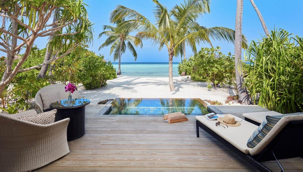 An intimate beach and private pool with the Beach Pool Villa.